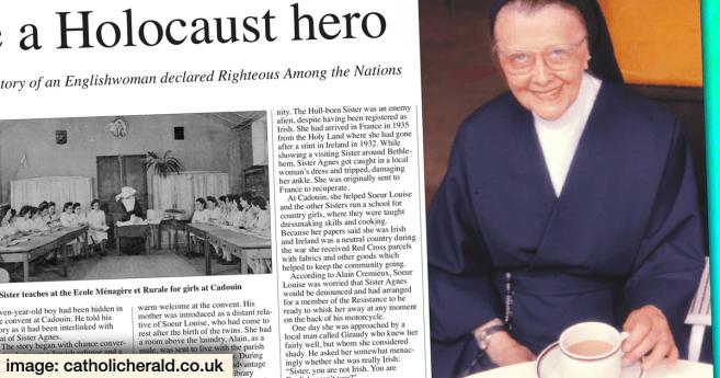 Sor Agnes Walsh, HC, honrada por proteger a judíos de los nazis