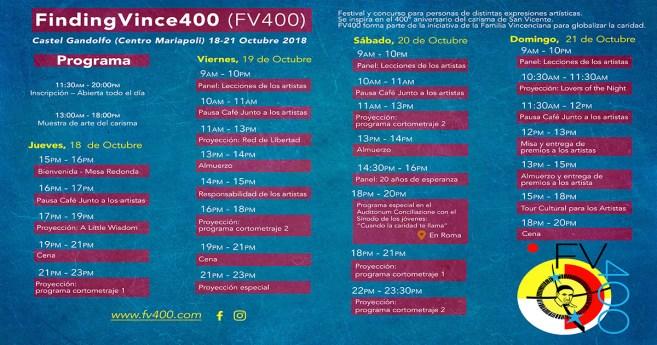 Horario del Simposio «Encontrando a Vicente 400»