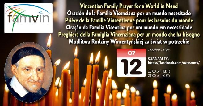 12 de julio: Oración de la Familia Vicenciana por un mundo necesitado (Facebook Live)