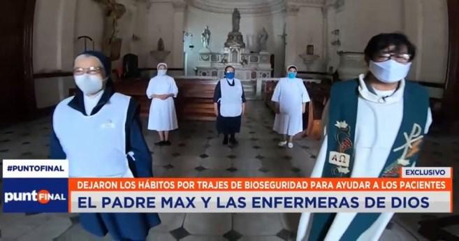 Un sacerdote y un grupo de Hijas de la Caridad asisten a los enfermos de coronavirus en hospital de Lima (Perú)