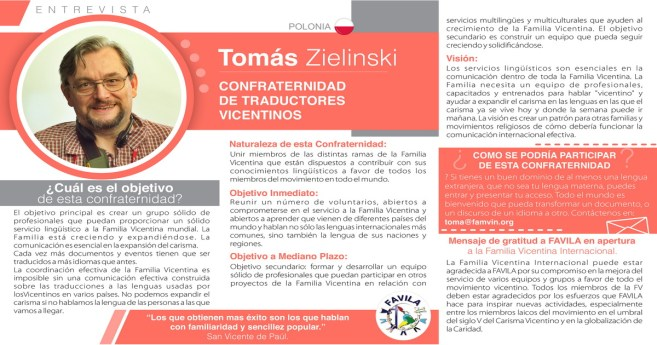 Entrevista a Tomás Zielinski, responsable de la Confraternidad de Traductores vicentinos