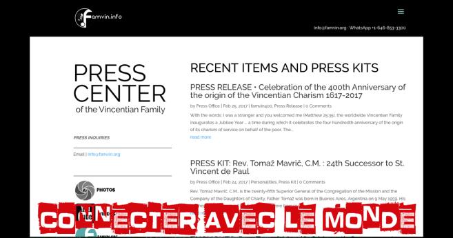 Se connecter avec le monde: un bureau de Press de la Famille Vincentienne