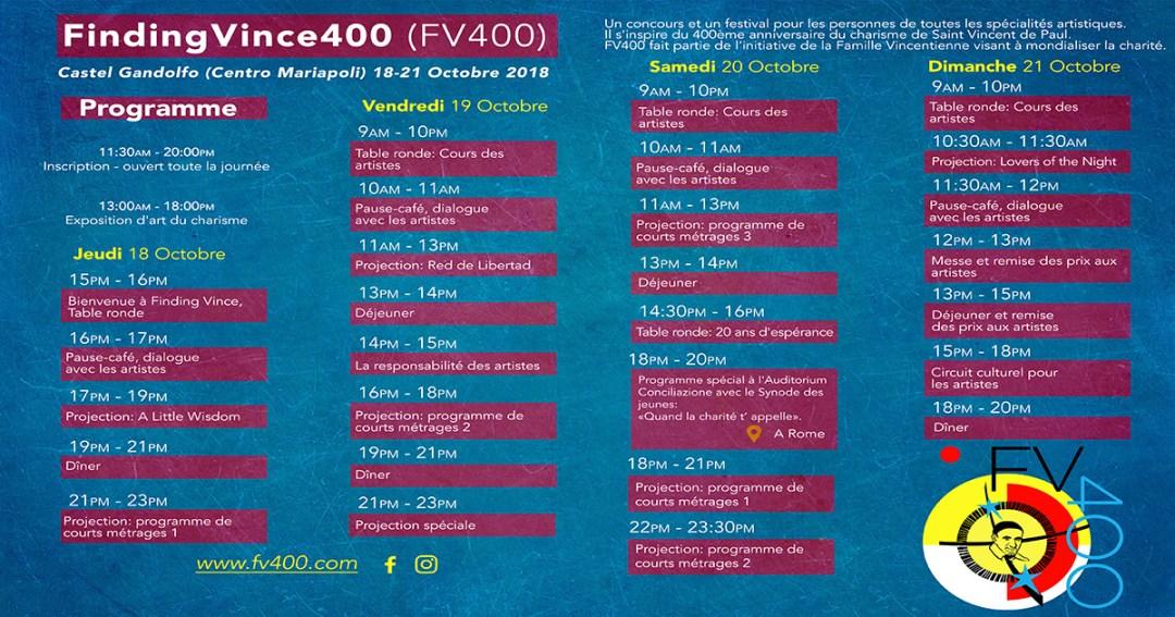 Calendrier du Symposium « Trouver Vicente 400 »
