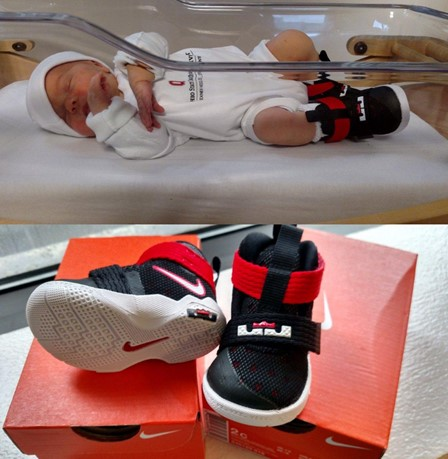 Babies given LeBron shoes and 'Beat