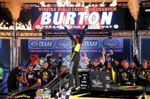 Jeb Burton, driver of the #4 Arrowhead Chevrolet, celebrates in Victory Lane after winning the NASCAR Camping World Truck Series WinStar World Casino 400 at Texas Motor Speedway on June 7, 2013  Photo - Chris Graythen/Getty Images