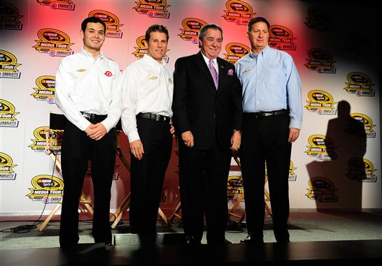 (L-R) Kyle Larson, driver of the #42 Target Chevrolet, Jamie McMurray, driver of the #1 McDonalds/Cessna Chevrolet, Felix Sabates, co-owner of Chip Ganassi Racing with Felix Sabates, and Steve Lauletta, president of Chip Ganassi Racing with Felix Sabates, speak with the media during the NASCAR Sprint Media Tour at Charlotte Convention Center on January 28, 2014   Photo - Grant Halverson/Getty Images
