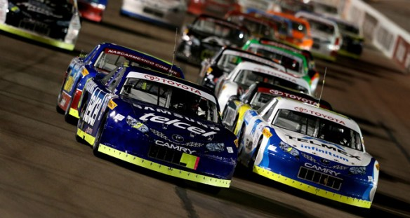 Daniel Suárez, front left, battles for the lead en route to his fourth consecutive win, with a victory in the Toyota 120 at Phoenix Photo - Getty Images