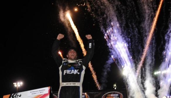 Christian PaHud celebrates his first K&N West win at All-American Speedway Photo - Noah Graham/Getty Images