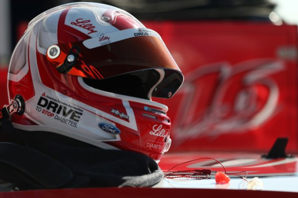 The helmet of Ryan Reed, driver of the #16 Lilly/American Diabetes Association Ford, sits atop his car during practice for the NASCAR XFINITY Series Alert Today Florida 300 at Daytona International Speedway on February 20, 2015 in Daytona Beach, Florida. Photo - Brian Lawdermilk/Getty Images