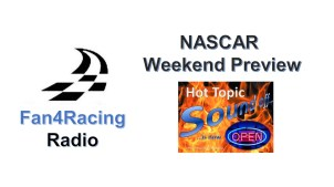 This Thursday 8:30 to 10 pm ET with host Sharon Burton and co-host Jay 'MJ' Husmann and 10 to 10:30 pm ET for NASCAR Hot Topics Sound Off with co-host Andy Laskey.