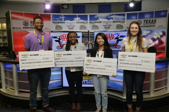 Chevrolet Diversity Scholarship winners during the NASCAR Sprint Cup Series AAA Texas 500 at Texas Motor Speedway on November 6, 2016 in Fort Worth, Texas. Photo - Jerry Markland/Getty Images