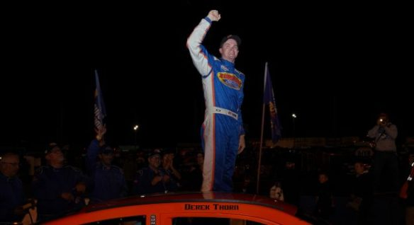 Derek Thorn celebrates as he exits his car in Victory Lane following his win in the NAPA Auto Parts 175 presented by the West Coast Stock Car Hall of Fame at Evergreen Speedway on August 11, 2018 in Monroe, Washington. Photo - Mike Tedesco/Getty Images
