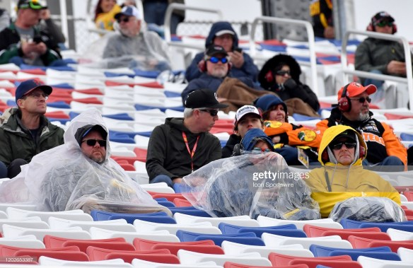 NASCAR Fans in the stands during rain delay for Xfinity Series at Las Vegas Motor Speedway,