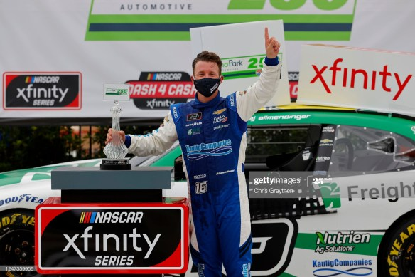AJ Allmendinger earns his first career oval victory in the NASCAR Xfinity Series Echo Park 250 at Atlanta Motor Speedway.