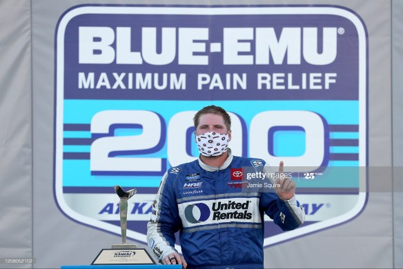 Austin Hill triumphs for victory in the NASCAR Gander RV & Outdoors Truck Series Blue-Emu Maximum Pain Relief 200 on Saturday, July 24th at Kansas Speedway.