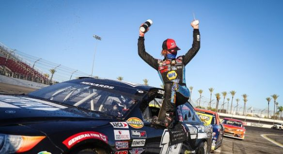 Jesse Love wins again in the ARCA Menards Series West, this time in the ENOES 125 presented by NAPA Auto Parts at Irwindale Speedway.