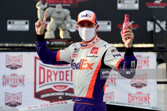 Denny Hamlin makes late-pass to another NASCAR Cup Series victory in the Drydene 311 on Saturday afternoon at Dover International Speedway.