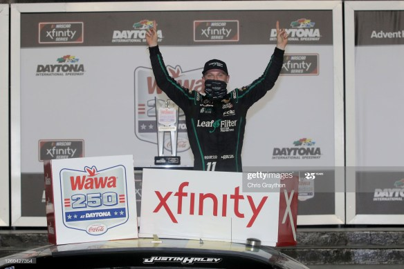 Justin Haley gets second win in the Xfinity Series with a wild finish in the Wawa 250 on Friday night at Daytona International Speedway.
