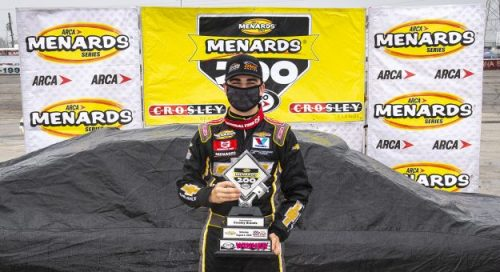 Sam Mayer victorious in ARCA doubleheader in the ARCA Menards Series Menards.com 200 on Friday and the rain-delayed Menards 200 on Sunday at Toledo Speedway.