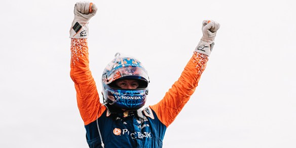 Dixon turns tables on Sato in a thrilling finish in the NTT IndyCar Bommarito Automotive Group 500 Race 1 at World Wide Technology Raceway on Saturday.