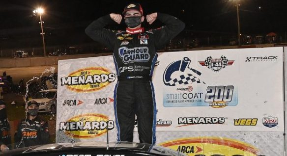 Sam Mayer wins at Lebanon I-44 Speedway in the ARCA Menards Series Zinsser SmartCoat 200 for another GMS Racing victory on Saturday night.