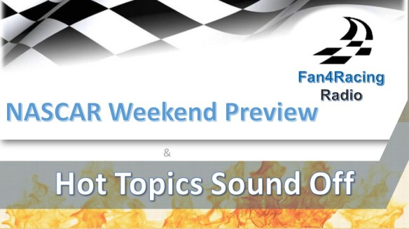 Richmond NASCAR Weekend Preview is presented by host Sharon Burton and co-host Jay Husmann. Join us as we rev up NASCAR fans for the upcoming weekend of racing. Then, stick around for Hot Topics Sound Off with co-host Andy Laskey and the Fan4Racing crew!