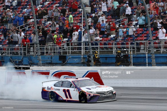 A frenzied finish at Talladega nets Denny Hamlin a win in the NASCAR Cup Series YellaWood 500 at Talladega Superspeedway on Sunday afternoon.