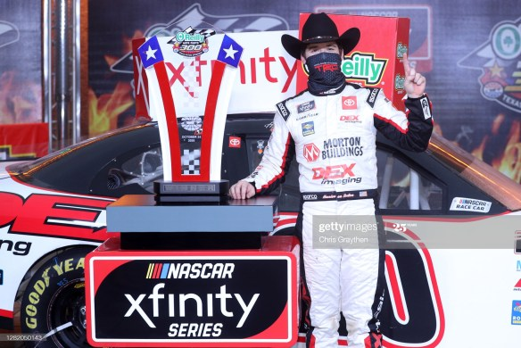 Harrison Burton wins a Texas in the NASCAR Xfinity Series O'Reilly Auto Parts 300 at Texas Motor Speedway on Saturday afternoon.