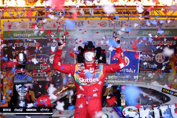 Kyle Busch salvages winning streak in the NASCAR Cup Series Autotrader EchoPark Automotive 500 at Texas Motor Speedway on Wednesday night.