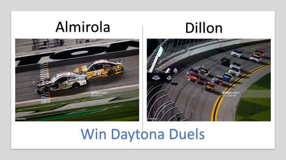 Almirola, Dillon win Duels at Daytona for NASCAR Cup Series season opener Daytona 500. The Great American Race runs this Sunday, February 14th.