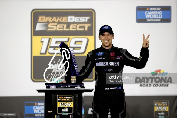 Ben Rhodes wins two in a row at Daytona in the NASCAR Camping World Truck Series - The season opener and the Daytona Road Course.