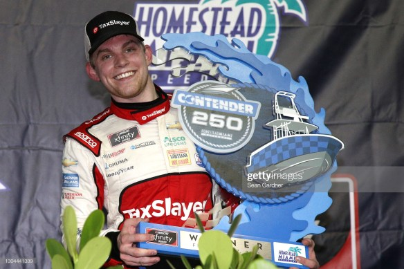 Myatt Snider scores his first win in the NASCAR Xfinity Series in Saturday's Contender Boats 250 at Homestead-Miami Speedway.