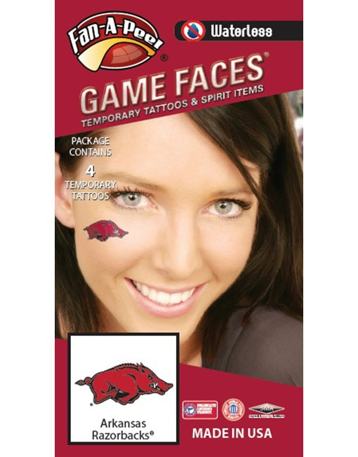 W-CJ-37_Fr - University of Arkansas (UARK) Razorbacks - Waterless Peel & Stick Temporary Spirit Tattoos - 4-Piece - Red/Black/White Tusk Logo