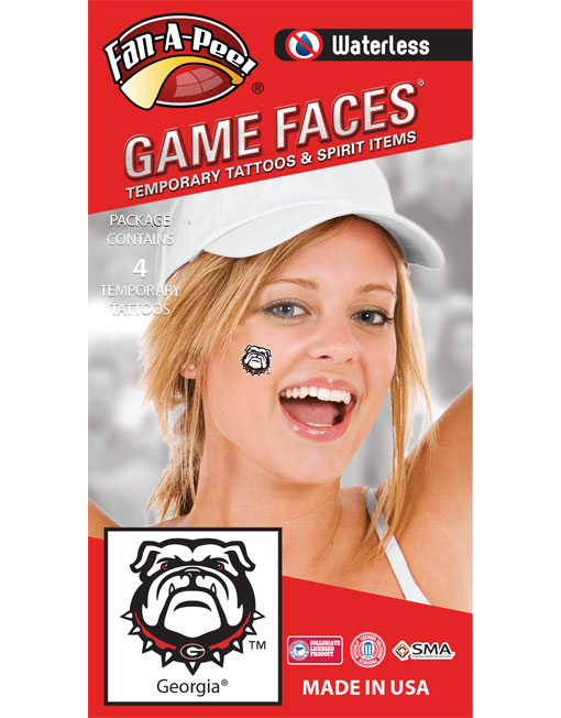 W-CJ-15-R_Fr - University of Georgia (UGA) Bulldogs - Waterless Peel & Stick Temporary Spirit Tattoos - 4-Piece - Dawg Head Logo