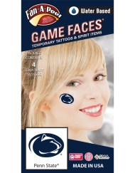 C-36_Fr - Penn State (PSU) Nittany Lions - Water Based Temporary Spirit Tattoos - 4-Piece - Dark Royal Blue Lion Head Oval Logo