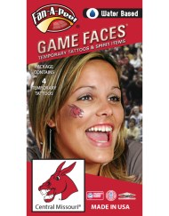 CB-140_Fr - University of Central Missouri (UCM) Mules - Water Based Temporary Spirit Tattoos - 4-Piece - Cardinal Mo Mule Head Logo