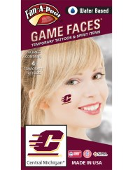 CB-193_Fr - Central Michigan University (CMU) Chippewas - Water Based Temporary Spirit Tattoos - 4-Piece - Maroon/Gold C Logo