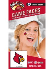 CB-200-R_Fr - University of Louisville (U of L) Cardinals - Water Based Temporary Spirit Tattoos - 4-Piece - Red Louie Bird Head Logo