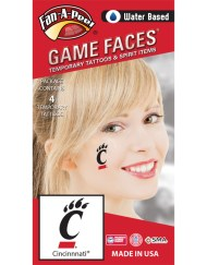 CF-133_Fr - University of Cincinnati (UC) Bearcats - Water Based Temporary Spirit Tattoos - 4-Piece - Black C Paw Logo