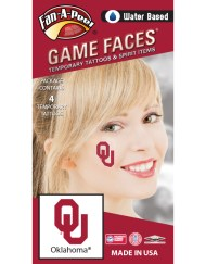 CF-29-R_Fr - Oklahoma University (OU) Sooners - Water Based Temporary Spirit Tattoos - 4-Piece - Crimson OU Logo