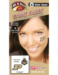 CF-65_Fr - Purdue University Boilermakers - Water Based Temporary Spirit Tattoos - 4-Piece - 2 Gold/Black P Logo & 2 Train Logo