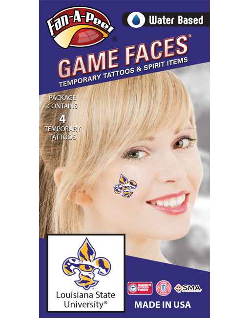 CX-50_Fr - Louisiana State University (LSU) Tigers - Water Based Temporary Spirit Tattoos - 4-Piece - Purple/Gold Tiger Eye Fleur De Lis Logo