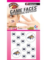 FN-148-R - Montana State University (MSU) Bobcats - Waterless Peel & Stick Temporary Tattoos - 14-Piece Combo - 12 Gold/Blue M Fingernail Tattoos & 2 Champ Cat Head Logo Spirit Tattoos