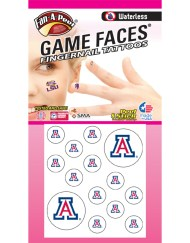FN-38-R_Fr - University of Arizona (U of A) Wildcats - Waterless Peel & Stick Temporary Tattoos - 14-Piece Combo - 12 Fingernail Tattoos & 2 Spirit Tattoos - Red/White/Blue A Logo