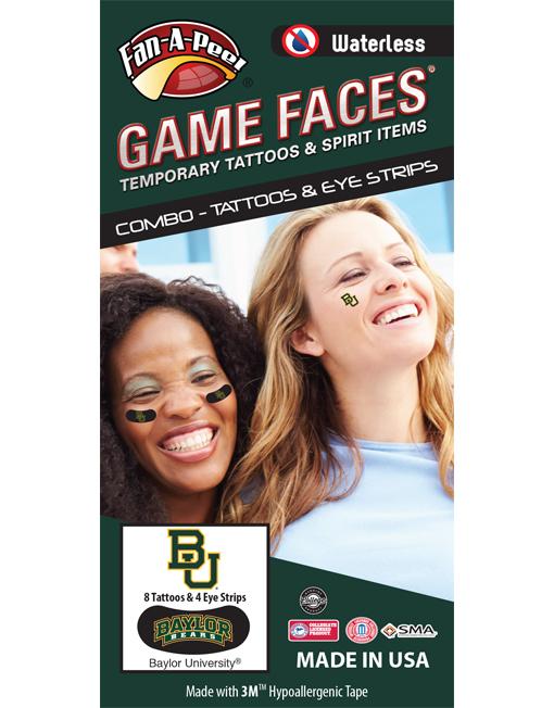 CP-40-R_Fr - Baylor University Bears - Waterless Peel & Stick Temporary Tattoos - 12-Piece Combo - 8 Green/Gold BU Logo Spirit Tattoos & 4 Green/Gold/White Baylor Bears on Black Eye Strips