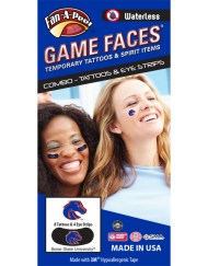 CP-114-R_Fr - Boise State University Broncos - Waterless Peel & Stick Temporary Tattoos - 12-Piece Combo - 8 Dark Blue/Orange Buster Horse Head Logo Spirit Tattoos & 4 Dark Blue/Orange Buster Horse Head Logo on Black Eye Strips