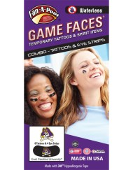 CP-43-R_Fr - East Carolina University (ECU) Pirates - Waterless Peel & Stick Temporary Tattoos - 12-Piece Combo - 8 Skull Head w/ Purple ECU Hat Logo Spirit Tattoos & 4 Skull Head on Black Eye Strips