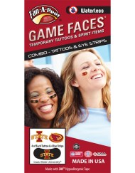 CP-47-R_Fr - Iowa State University (ISU) Cyclones - Waterless Peel & Stick Temporary Tattoos - 12-Piece Combo - 4 Cardinal/Gold I-State Logo & 4 Cardinal/Gold Cy Oval Spirit Tattoos & 4 Cardinal/Gold I-State Logo on Black Eye Strips