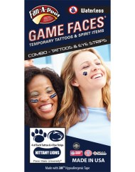 CP-36-R_Fr - Penn State (PSU) Nittany Lions - Waterless Peel & Stick Temporary Tattoos - 12-Piece Combo - 4 Dark Royal Blue Paw Print & 4 Dark Royal Blue Lion Head Oval Logo Spirit Tattoos & 4 White Nittany Lions on Dark Royal Blue Eye Strips