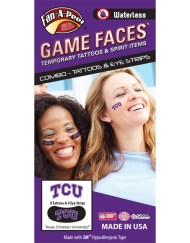CP-70-R_Fr - Texas Christian University (TCU) Horned Frogs - Waterless Peel & Stick Temporary Tattoos - 12-Piece Combo - 8 Purple/White TCU Logo Spirit Tattoos & 4 Purple/White TCU Logo on Black Eye Strips